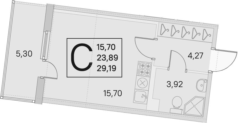Студия, 23.89 м², 2 этаж – Планировка