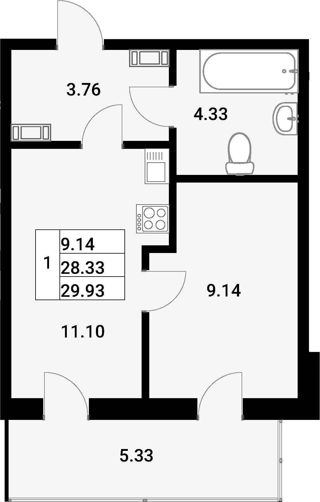 1-к.кв, 33.66 м²