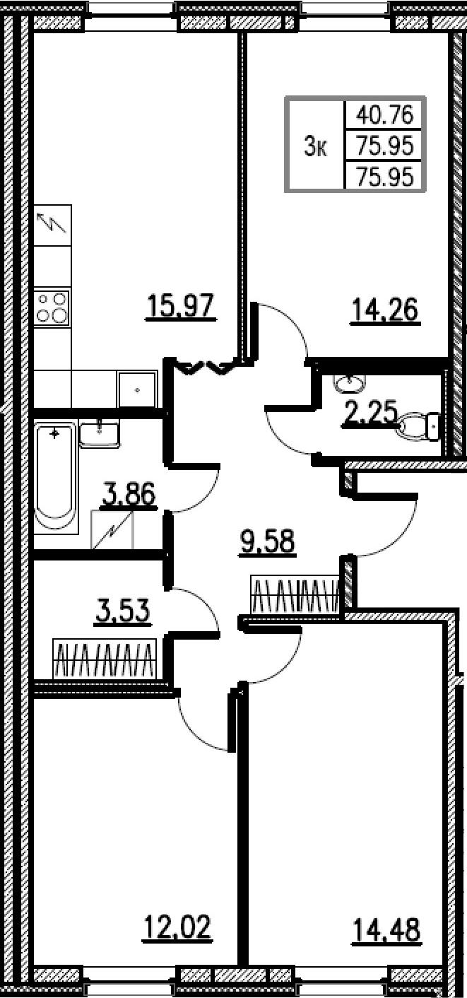 4Е-комнатная, 75.95 м²– 2