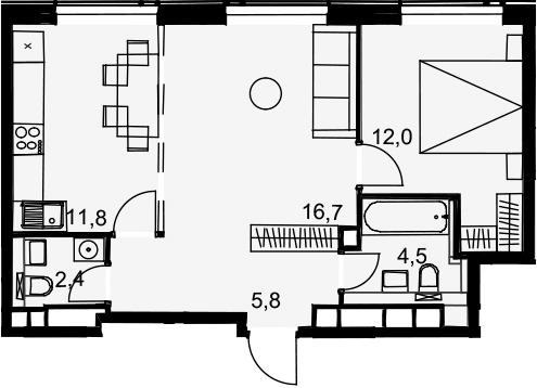 2-к.кв, 53.2 м²