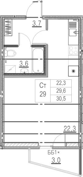 Студия, 32.6 м²
