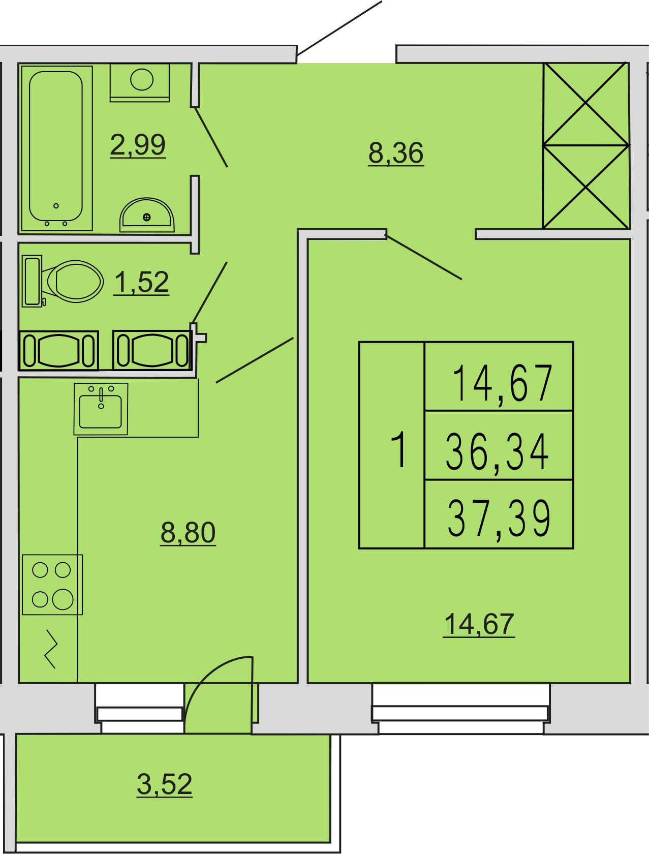 1-к.кв, 40.13 м²
