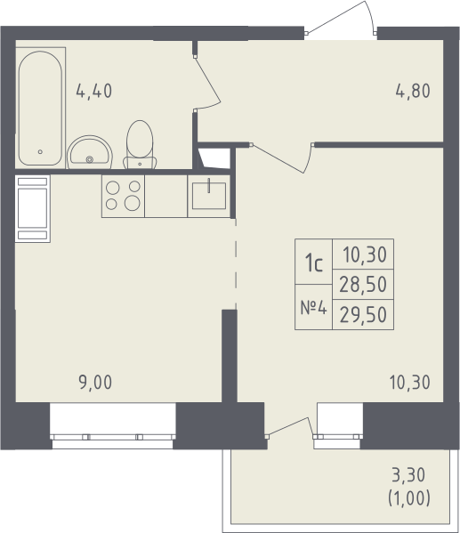 Студия, 31.83 м²