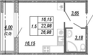 Студия, 22.98 м²– 2
