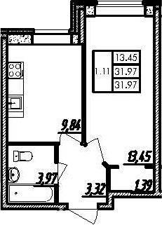 1-комнатная, 31.97 м²– 2