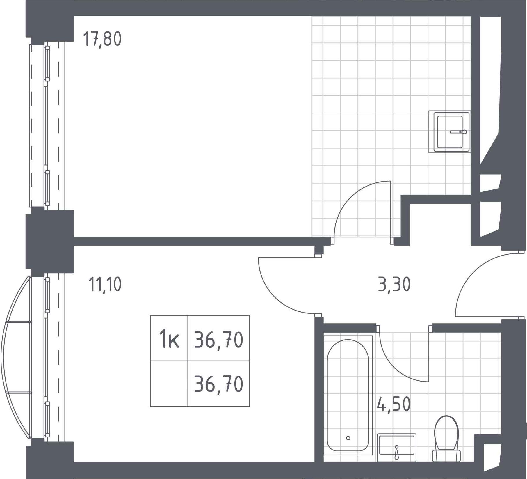 2-к.кв (евро), 36.7 м²