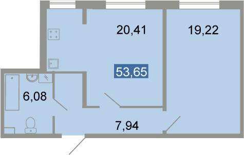 2-к.кв (евро), 53.65 м²