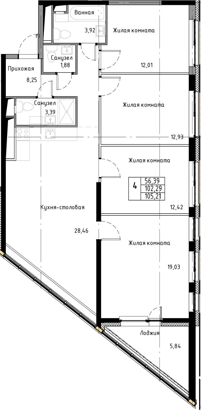 5-к.кв (евро), 108.13 м²