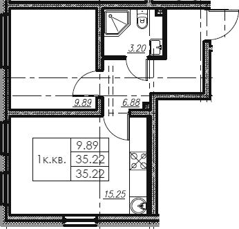 2Е-к.кв, 35.22 м²