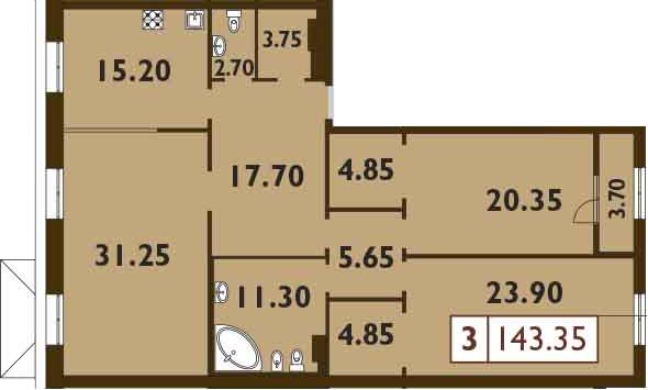 4Е-комнатная квартира, 143.35 м², 6 этаж – Планировка