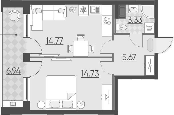 1-комнатная, 45.44 м²– 2