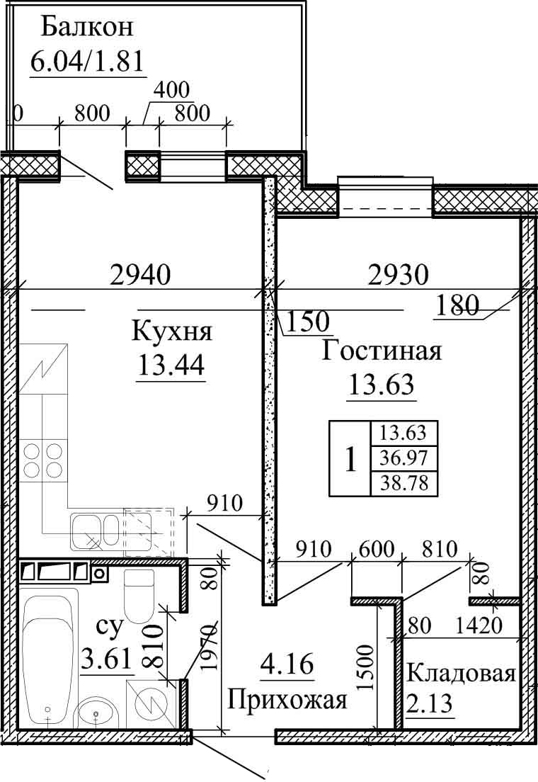 1-комнатная, 38.78 м²– 2