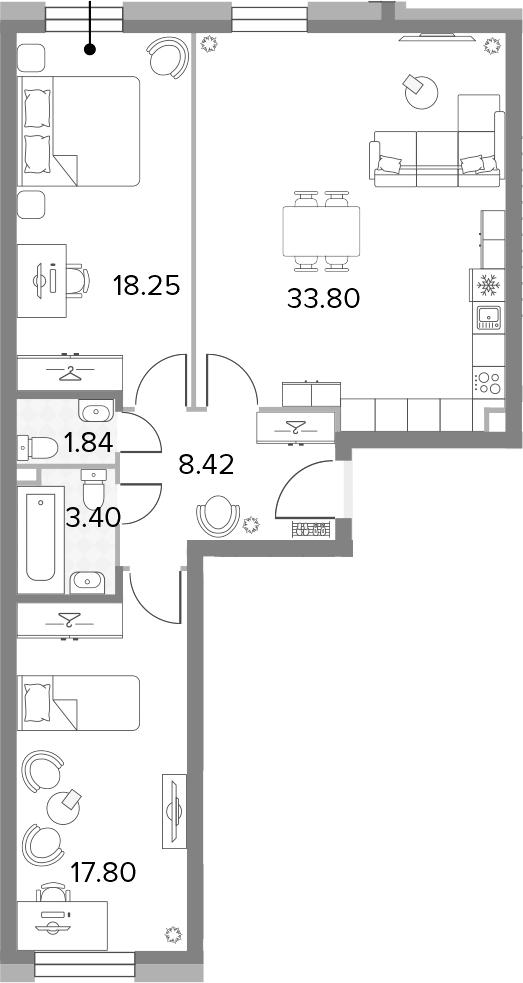 3-к.кв (евро), 83.51 м²
