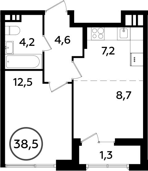 2Е-к.кв, 38.5 м², 3 этаж