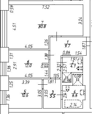 3Е-к.кв, 79.3 м², 8 этаж
