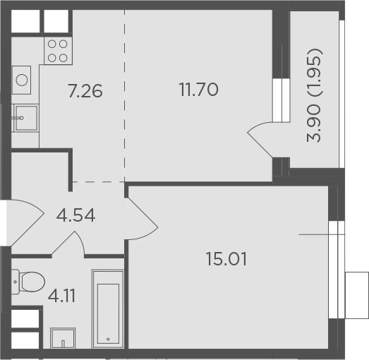 2Е-комнатная, 44.57 м²– 2