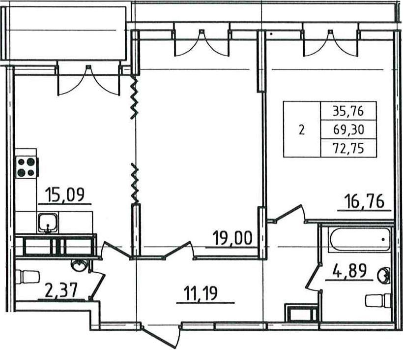 3Е-комнатная квартира, 72.75 м², 3 этаж – Планировка