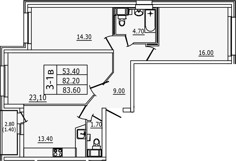 3-к.кв, 83.6 м², от 9 этажа