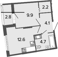 1-к.кв, 33.5 м²