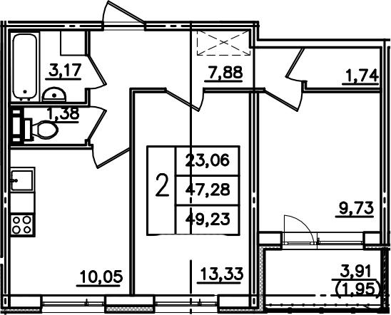 2-к.кв, 51.19 м²