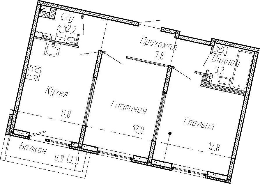 2-комнатная, 49.8 м²– 2