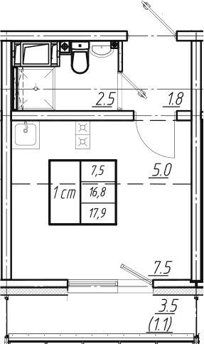 Студия, 17.9 м², от 4 этажа