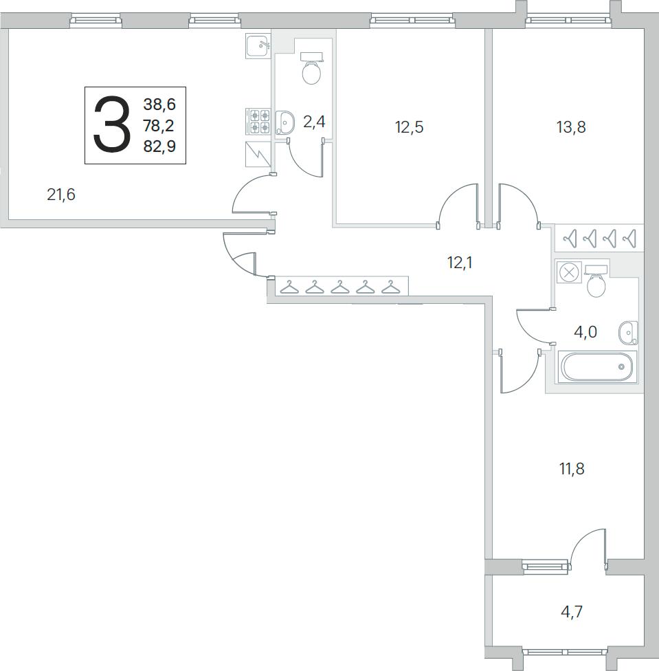 4Е-к.кв, 78.2 м², от 1 этажа