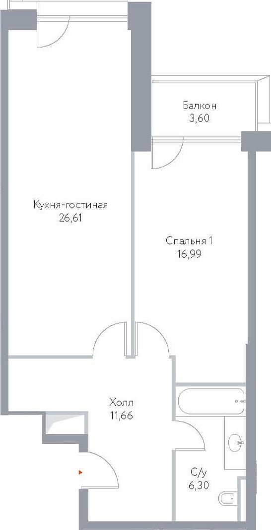 2Е-к.кв, 65.16 м², 10 этаж