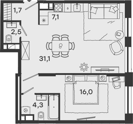 2Е-комнатная, 60.2 м²– 2