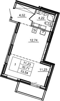 Студия, 33.54 м²