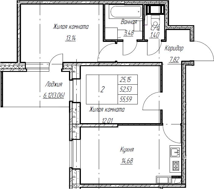 2-комнатная, 55.59 м²– 2