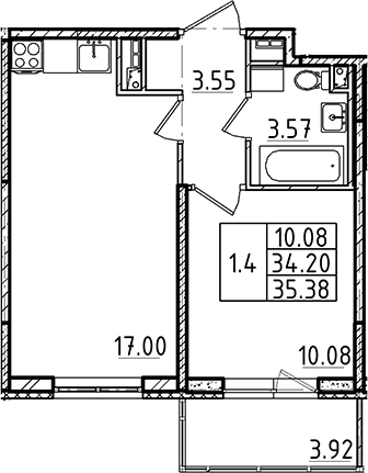 2Е-к.кв, 35.38 м²