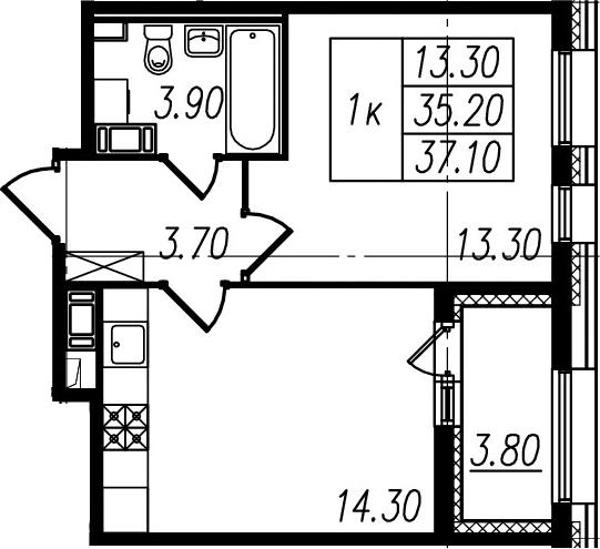 2Е-к.кв, 35.2 м², 7 этаж