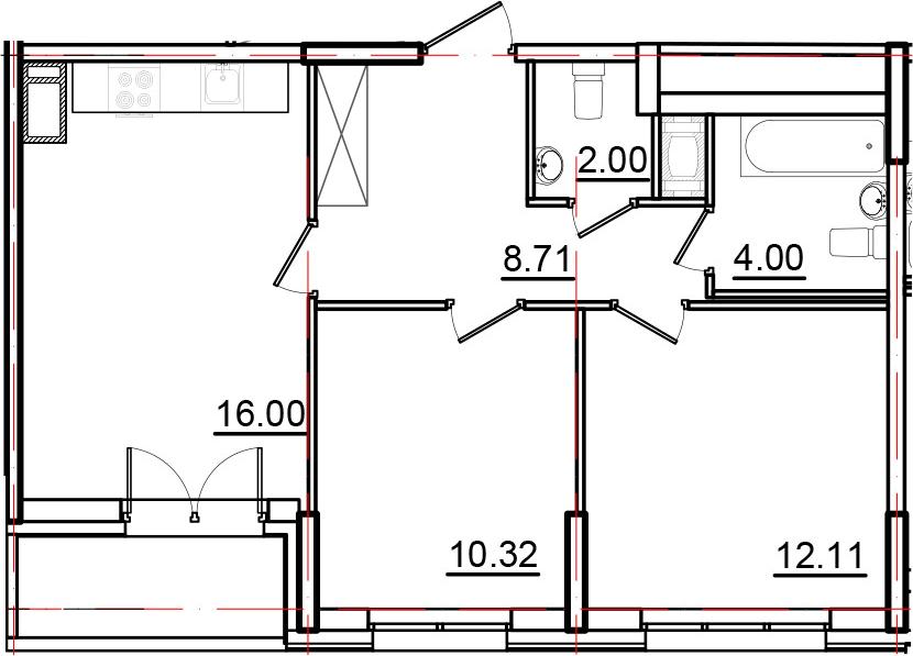 3Е-к.кв, 54.96 м², 14 этаж