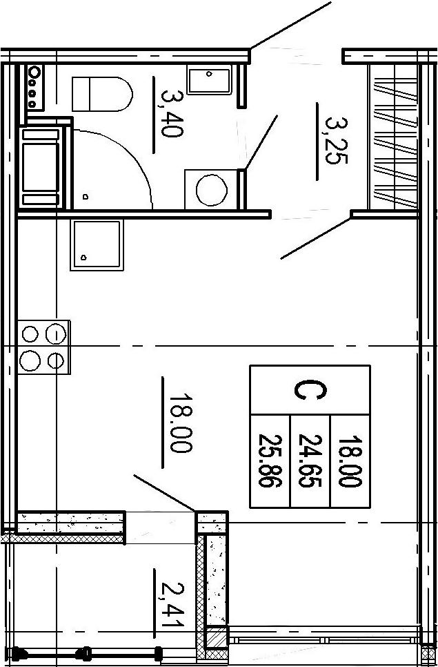 Студия, 24.65 м²– 2