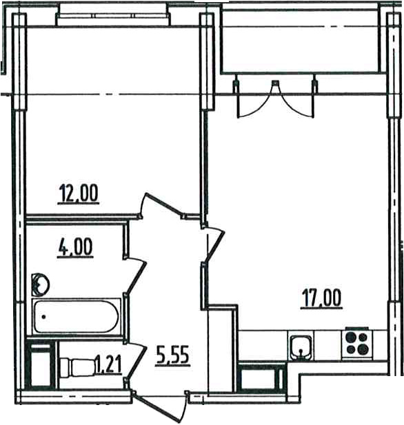 2Е-к.кв, 41.6 м²