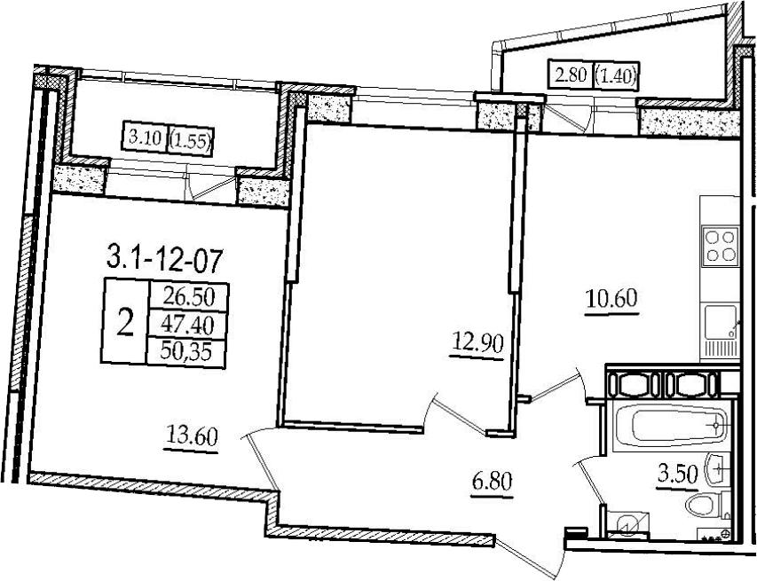 2-к.кв, 50.35 м²