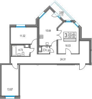 4Е-к.кв, 87.55 м², от 3 этажа