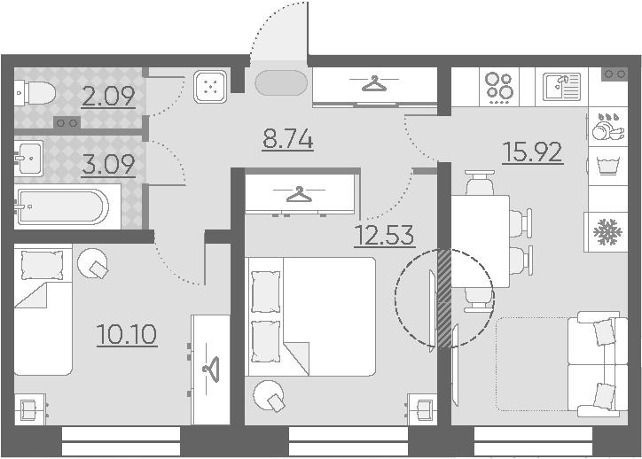 3-к.кв (евро), 52.47 м²