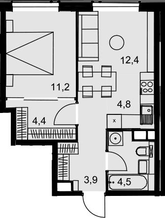 2Е-к.кв, 41.2 м², от 20 этажа