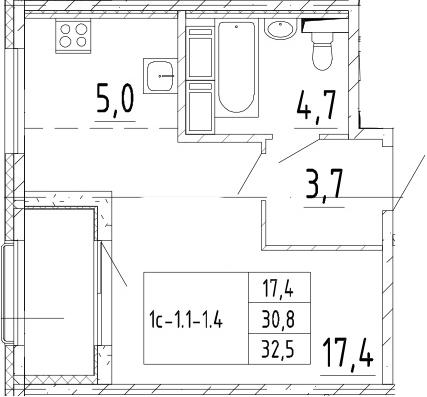 Студия, 32.5 м², от 9 этажа