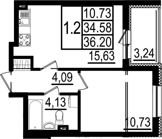 2-к.кв (евро), 37.82 м²