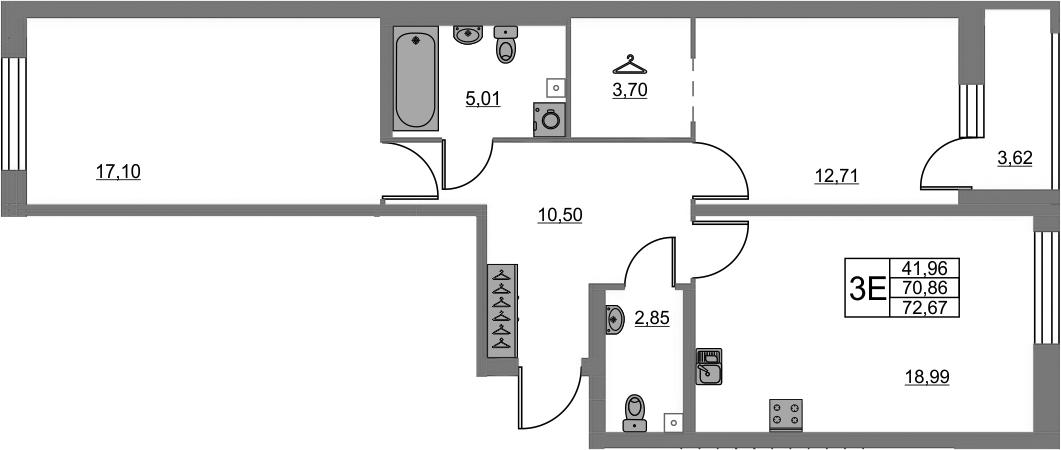 3-к.кв (евро), 74.48 м²