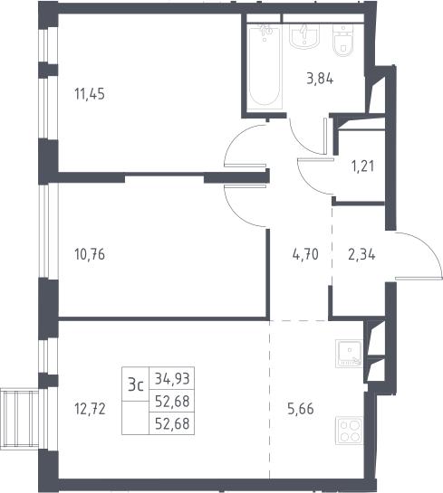 3Е-к.кв, 52.68 м²