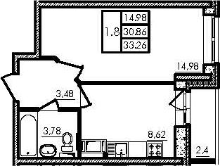 1-к.кв, 30.86 м², 5 этаж