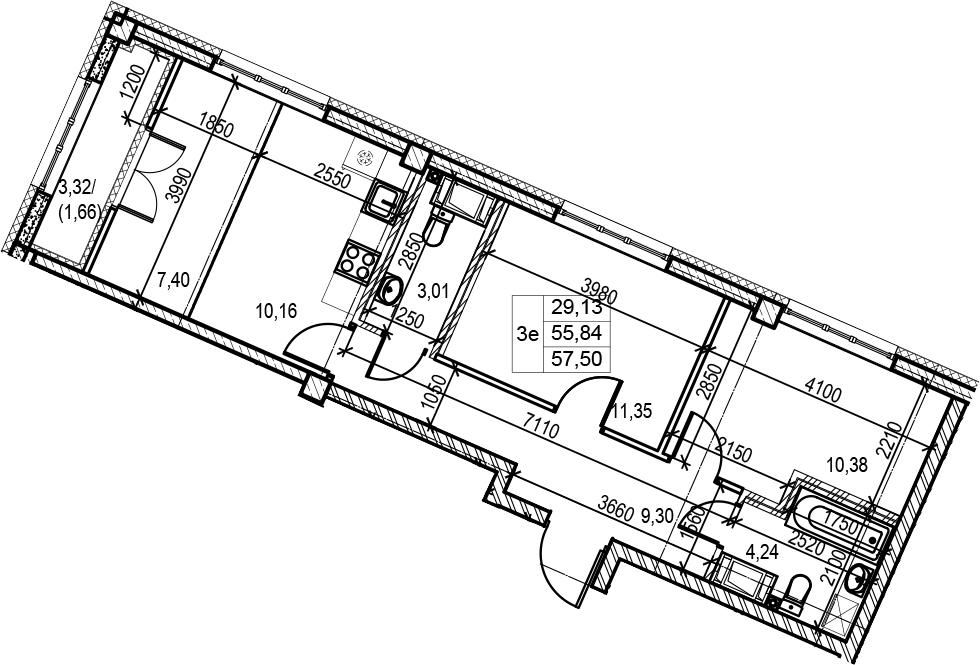 3Е-к.кв, 57.5 м², 5 этаж