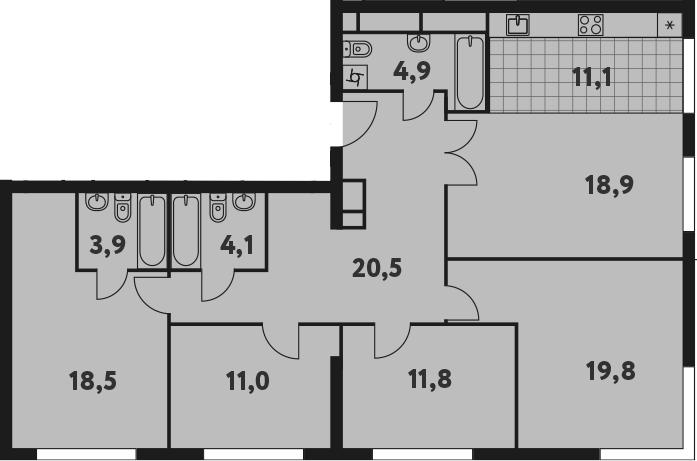 5-к.кв (евро), 124.5 м²