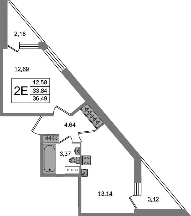 2-к.кв (евро), 39.14 м²
