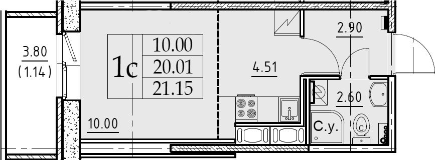 Студия, 21.15 м², 10 этаж