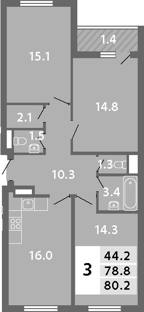 4Е-комнатная, 80.18 м²– 2